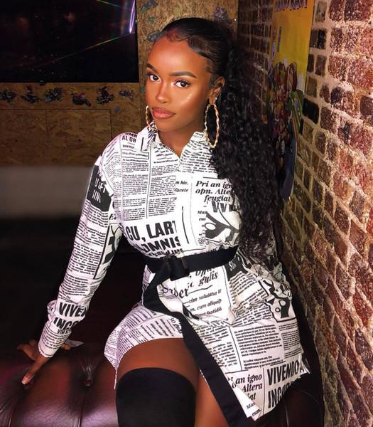 Модные платья с длинным рукавом Женская куртка с газетным принтом Женская повседневная одежда больших размеров S-XXL