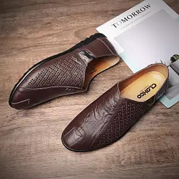 Nuovi uomini scarpe casual in pelle estate fori traspiranti Scarpe piatte di marca per gli uomini guida morbida 2018 più recente