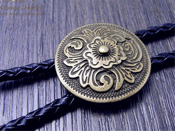 Arte Bolo Tie Antique Bronze Flor de Prata Totem Fivela Redonda Ajustável Ocidental Cowboy Novidade Gravatas