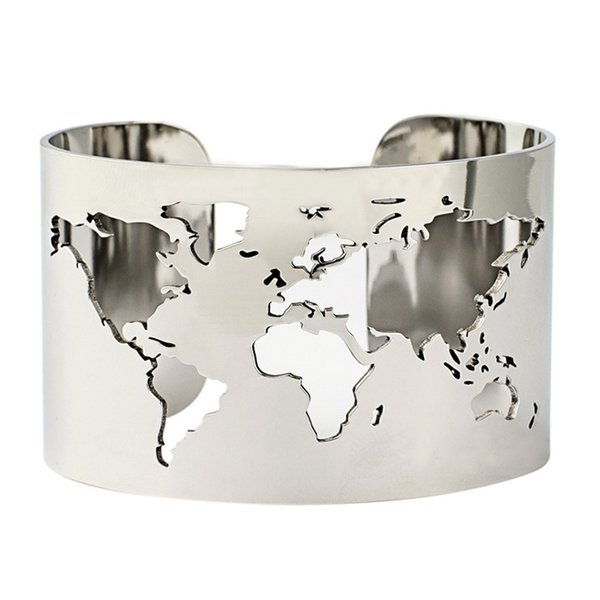 World Map Cut-out Cuff Bangle Bracelet Travel Peace Jewelry Stainless Steel 40mm Wide Laser Engraving Fine Polished Circle Angle Y19051002
