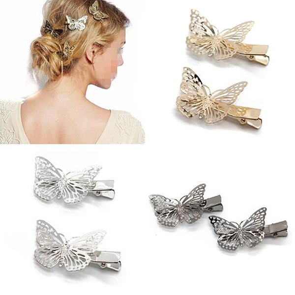 jewelry 4 PCS Vintage Accessories Black Gold Butterfly Clip Fancy Metal Barrette Wedding Hairpin Hair Jewelry For Women