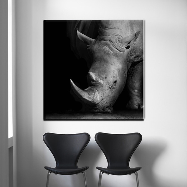 1 Piece Canvas Painting Africa Rhinoceros Black And White Animals Prints And Posters Wall Art Decor Picture Living Decor Pictures No Framed