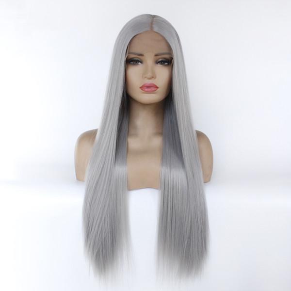 Pelucas sintéticas baratas pelucas delanteras de encaje sintético resistencia al calor pelo largo y recto para los negros envío gratuito simulación pelucas de cabello humano