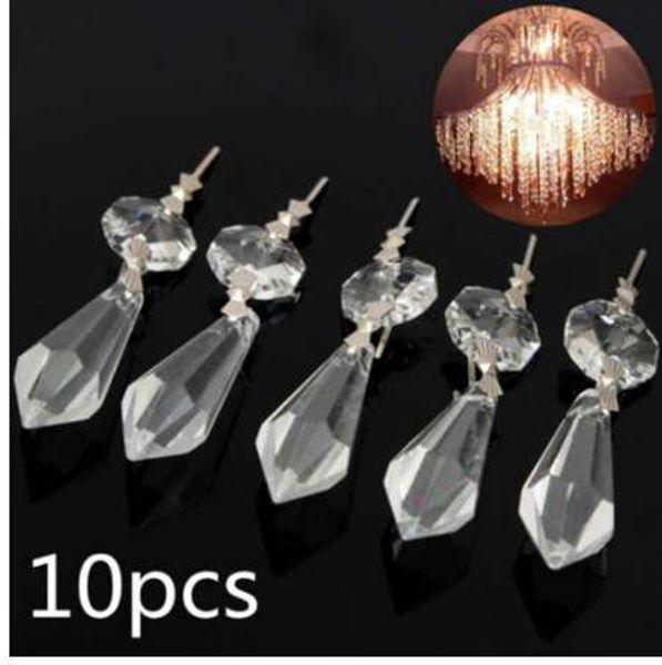 10Pcs/Pack Chandelier Octagonal Bead Crystal Lamp Pendants Decoration Parts Hanging Pendant Lighting DIY Accessories 7.5x1.5x1cm
