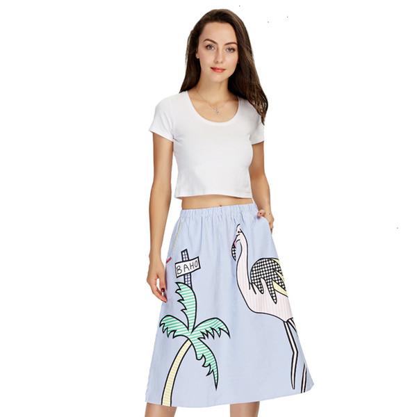 Женщины Юбки Женщины Сладкое дерево печати полосатой юбки Faldas Mujer эластичный пояс Карманы дамы моды Streetwear Середина теленок Юбка Bsq552