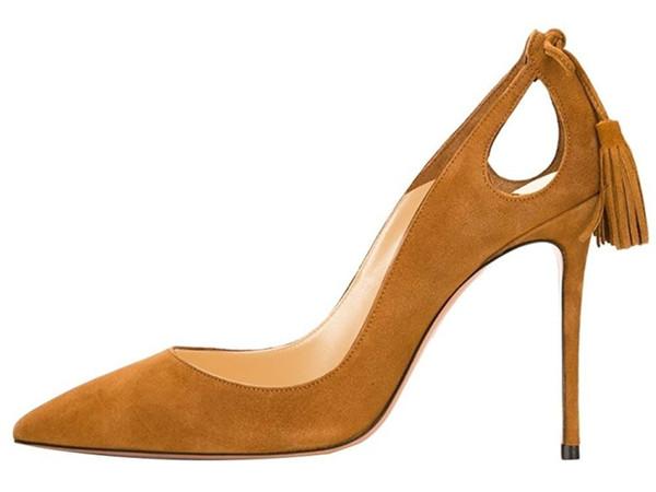 Sıcak Sale-2019 ayakkabı tasarımcısı moda sivri toes püskül yüksek topuklu sapatos melissa bayanlar sandalia stiletto topuklu k ...