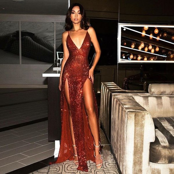 Hot Sale Sparkle Sexy Red Sequins V-Neck Prom Dress 2019 Long Evening Gowns With Slit robes de soirée Prom Gowns vestidos de quinceañera