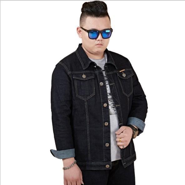 Herren Frühling Herbst Schwarze Jeansjacke Plus Size Jacke Jeans für große Männer Übergroße Jeansjacken und Mäntel Mann M-5XL 6XL 7XL 8XL