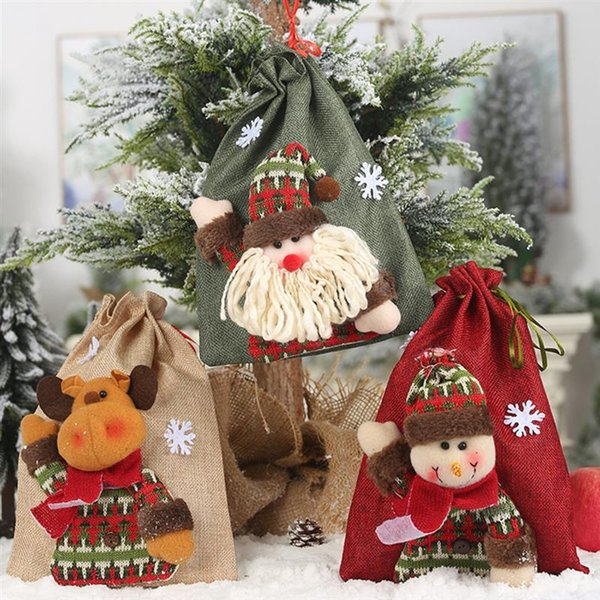 3pcs christmas children gift candy bag cute cartoon drawstring party favor bag for candy apple santa claus elk decoration bags