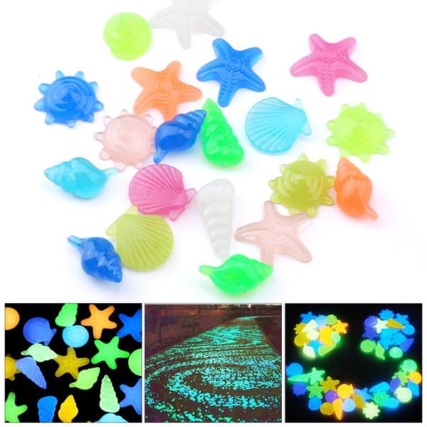 Colorful resina pietre Luminous shell Glow In The Dark Marine perle di vita di fantasia per monili che fanno 12pcs abbellimento fai da te / lot