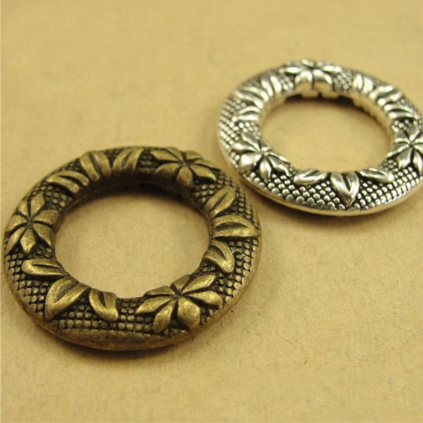 25*5MM Antique Bronze pattern connecting ring retro ethnic jewelry accessories wholesale, round connector charm pendant beads