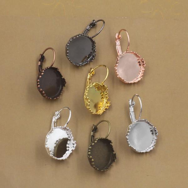 100pcs Fit 12mm 15MM metal gold blank earring settings vintage earing base bezel antique silver earring tray diy jewelry making findings