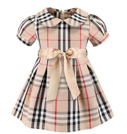 best selling plaid dress 2019European and American styles new Girl kids summer cute doll collar short sleeved girl high quality cotton plaid dress