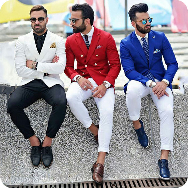 Latest Coat Pant Designs Royal Blue Men Suits Groom Tuxedo Formal Groomsmen Suits Peaked Lapel Best Man Blazer 2Piece Ternos Costume Homme