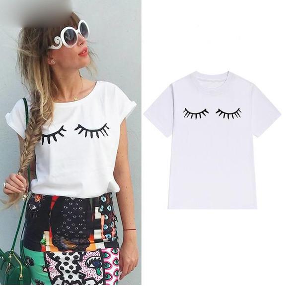 Wimper-Druck-Frauen-T-Shirt Baumwollbeiläufiges lustiges T-Shirt für Dame Girl Top Tee Hipster Tumblr Drop Ship Z-1000
