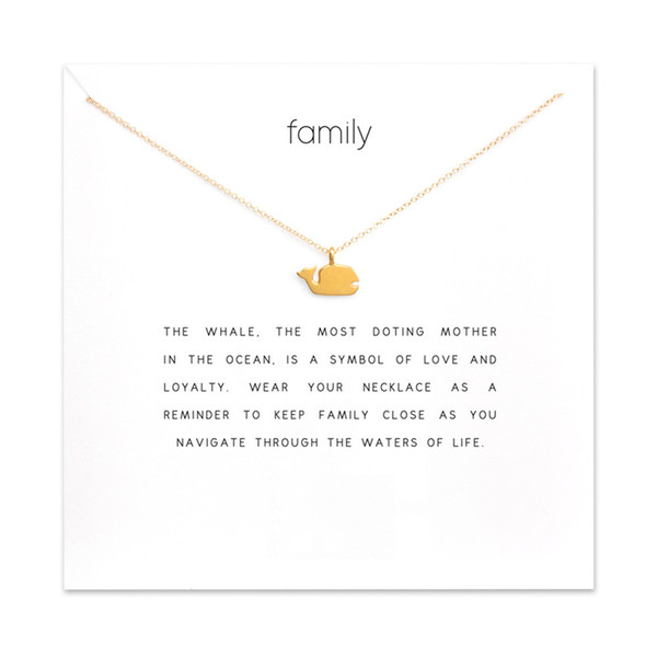Fashion Whale Pendant Necklace Women Minimalist Clavicle Chain Fish Choker Necklaces Valentine's Day Gift Card Mothers Day