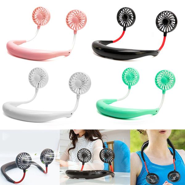 top popular 1PCs Portable Fan Neck Fan Hand Free USB Rechargeable 1200mA Battery Operated Dual Wind Head 3 Speed Adjustable Fan 054 2021