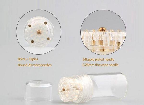 50 unids Micro Hydra Needle 20 Aqua Micro Channel Mesotherapy Gold Needle Fine Touch System derma sello DHL Envío
