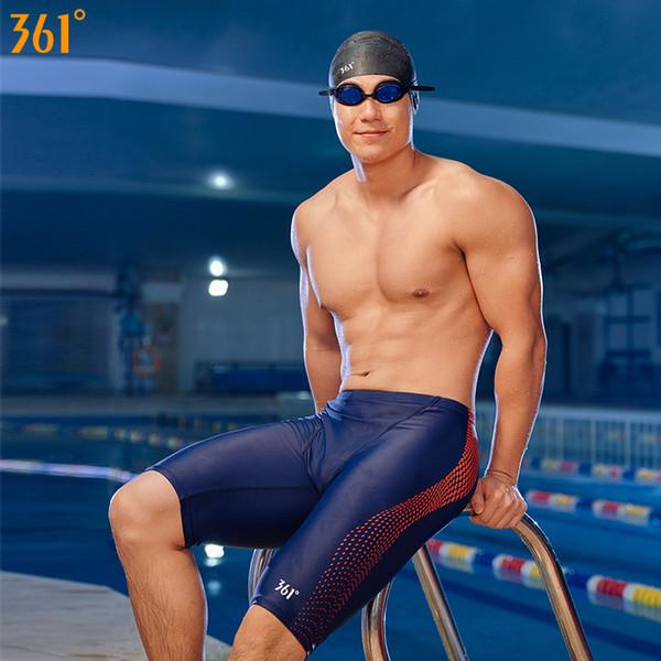 361 Homens Swimwear Troncos de Banho Resistente Ao Cloro para Homens Plus Size Swimwear Atlético Competição Swim Shorts Meninos Swimsuit