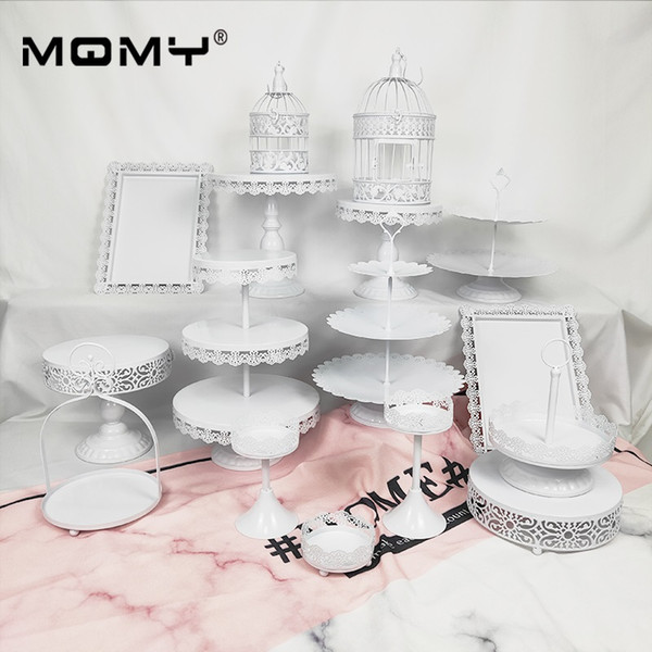 16 Pcs Metal Iron Cupcake Display Rack Resuable Without Crystal Dessert Wedding Birthday Party Decoration Holder Fashion Birdcage Cake Stand