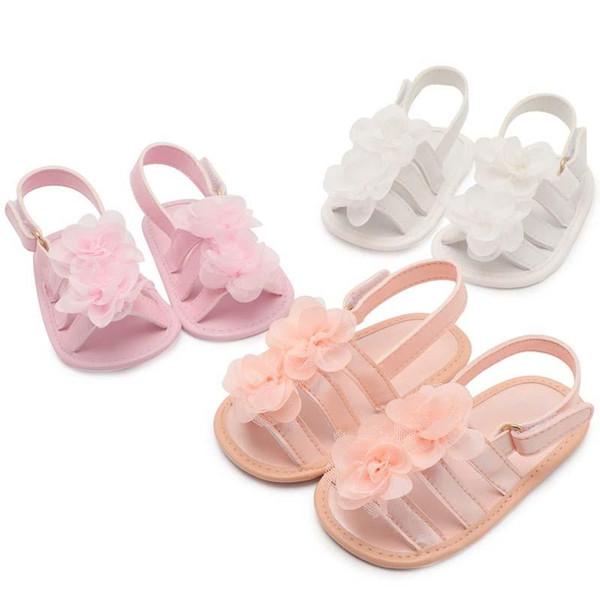 2019 new Summer Floral Baby Mocassini Soft Baby First Walker Scarpe da bambina Sandali da bambina Principessa Flower Infant Shoes Scarpa neonata
