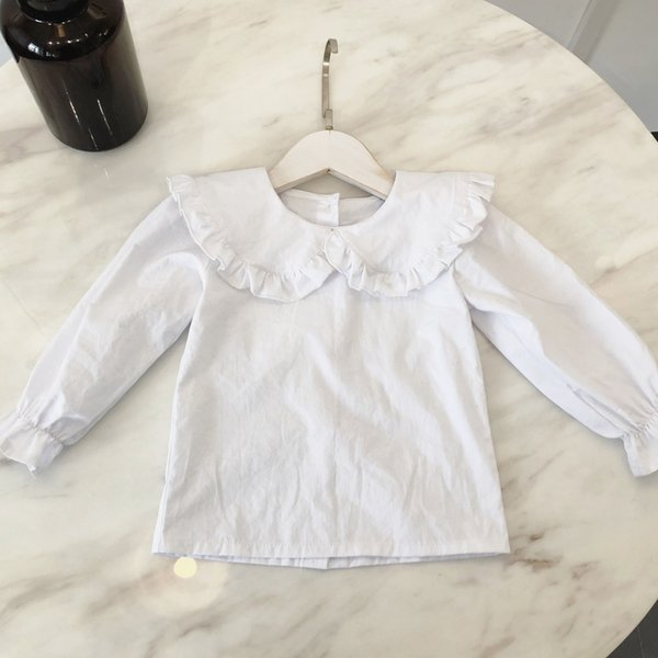 2019 Spring Fashion Brand Quality Children Clothing Baby Girl Long Sleeve Solid White Blouse Kids Ruffle Blouse Tops Clothes
