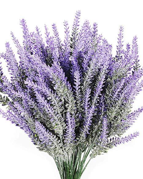 8PCS Artificial Lavender Flowers Bouquet Fake Lavender Plant Bundle Wedding Home Decor Garden Patio Decoration