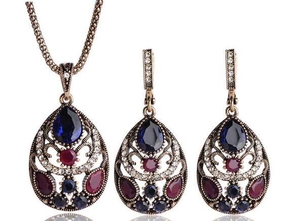 Оптовая 3 компл. / лот высокое качество красочный кристалл алмаза свадьба невеста ожерелье серьги высококлассный подарок Rset бесплатная доставка 5.9 т