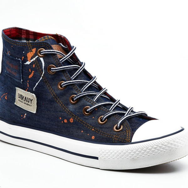 Men's Denim Shoes Breathable High Canvas Shoes Men Casual Skate Footwear Zapatos Hombre British Style Fashion Cool Youth Boy Shoes FVB-DG