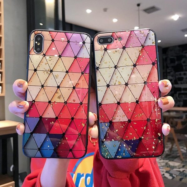 Luxury Pink Granite Delta Paint Phone Case for iPhone 7 8 Matte Back TPU Case Cover for iPhone XR XS Max X XS 8 plus 7 plus