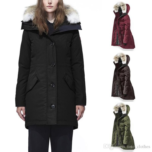 Neuer Stil 2019-2020 Kanada Frauen Rossclair Parka Qualitäts-lange Kapuze Wolf-Pelz-Mode warme Daunenjacke im Freien warmer Mantel