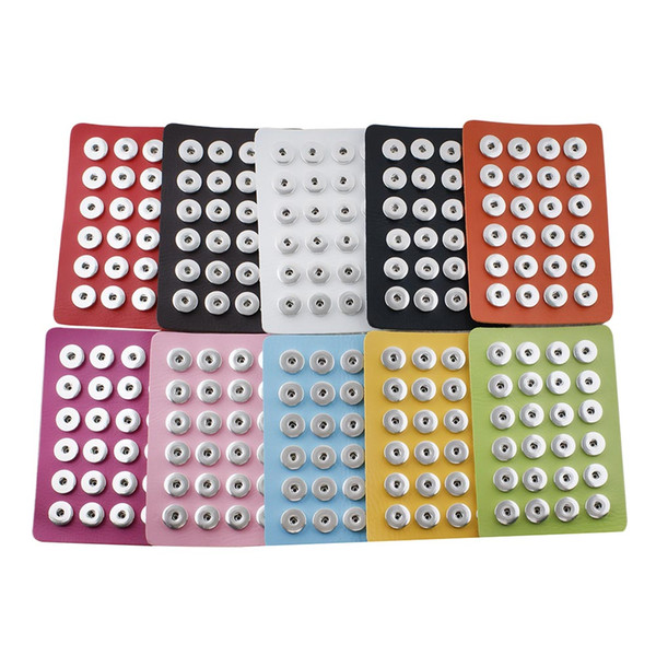 Top quality New Snap Jewelry 18MM Snap Button Display 10 Colors Black Leather Snap Display for 24 PCS Jewelry Display Holder