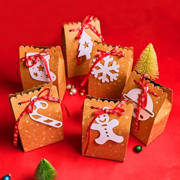 Box Candy Bags Kraft Paper Cute Deer Tree Gift Merry Christmas Cookies Package for New Year Xmas Party Gift Bag Bags