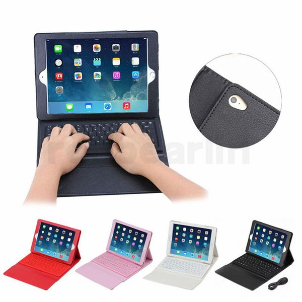 20pcs Bluetooth Wireless Keyboard leather case for Ipad Pro 1 2 3 4 5 air mini 2 retina Stand Holder Protector Protective Lined