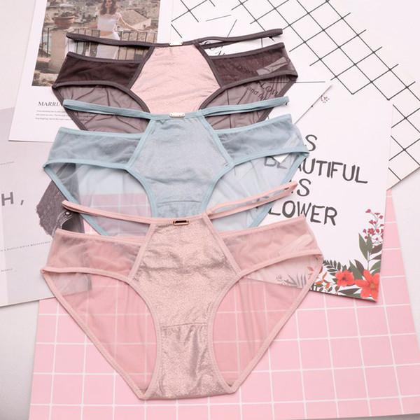 SP&CITY European Style Transparent Sexy Panties Sex Female Lingerie Shiny Net Hollow Out Underwear Crotch Cotton Briefs Thongs