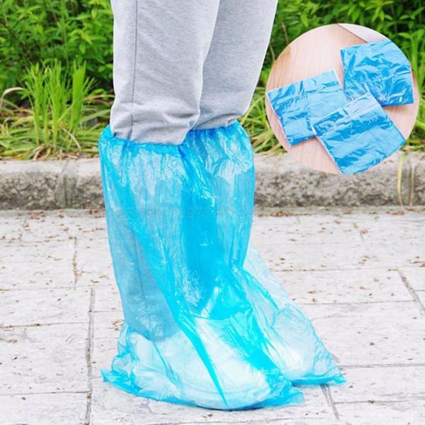 1Pair Durable Waterproof Thick Plastic Disposable Rain Shoe Covers High-Top Boot Au13 dropship