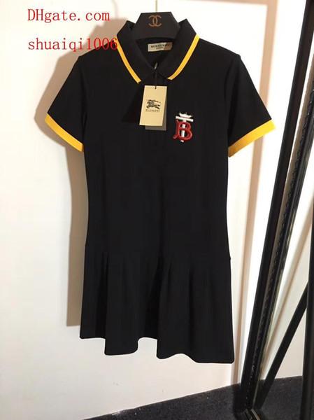 L'été robes lettre brodée slim col polo à manches courtes en coton robe dames robes décontractées top qualité femmes vêtements AB-10