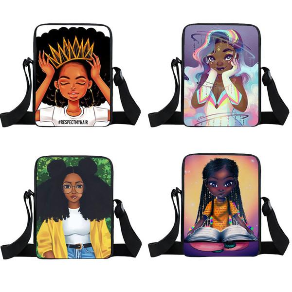 Cute Afro Girls Zaini con una spalla 35 Design Cartoon Character Crown Girls Square School Bags Borsa messenger per bambini 04