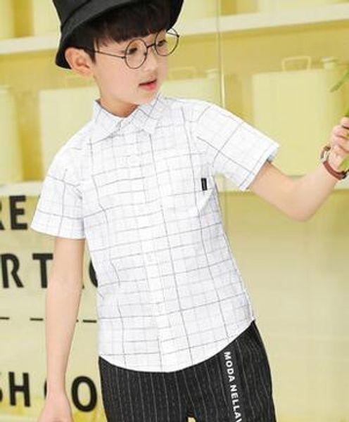 2019 Новая летняя мода детей Простая решетка V воротник с коротким рукавом футболки