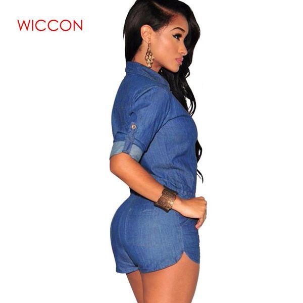 2019 Women Plus Size Summer Denim Jumpsuit Shorts T-shirt Short Overall Casual Jeans Romper Solid Button Blue Color