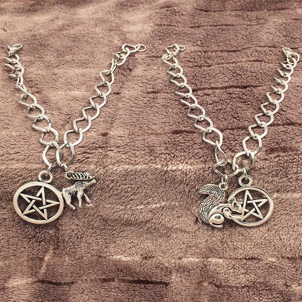 Witchcraft Pentagram Bracelets Evil Squirrel Reindeer Vintage Silver Gothic Punk Bracelet Bangles Women Fashion Personality Party Jewelry