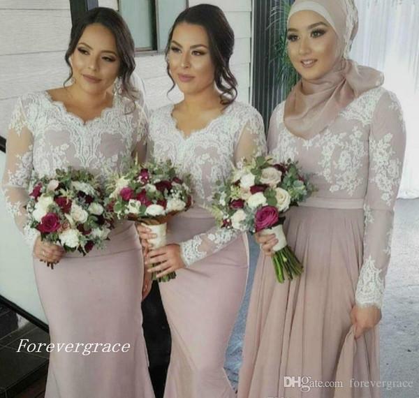 2019 Barato Vestido de dama de honor de encaje blanco Mangas largas Jardín musulmán Formal Fiesta de bodas Invitada Dama de honor Vestido de talla grande por encargo