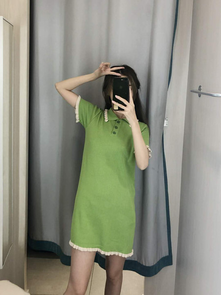 Designer 2019 New Women's Dresses Casual Fashion Brand Women Cloth Luxury Pure Color Breathable Ruffled Dress 3 Colors Linen Blend Size Free