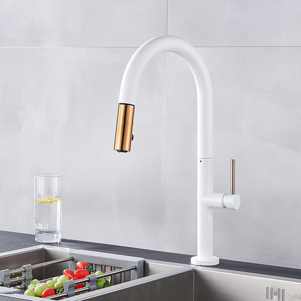 Black Rose Gold Kitchen Faucets Pull Out Spray 360 Rotation Single Handle Mixer Tap Kitchen Sink Mixer Tap