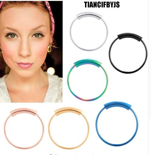 Fashion Nose Ring Lip Ring Hoop Labret Piercing Rings for Women Pircing Body Jewelry Tragus Earring 60pcs Mix 3 Size