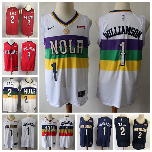 2019 2019 Mens City Neworleanspelicans Nbajersey 1 Zionwilliamson Earned Williamson 2 Lonzoball Red Basketball Shirts From Ajersey 20 45