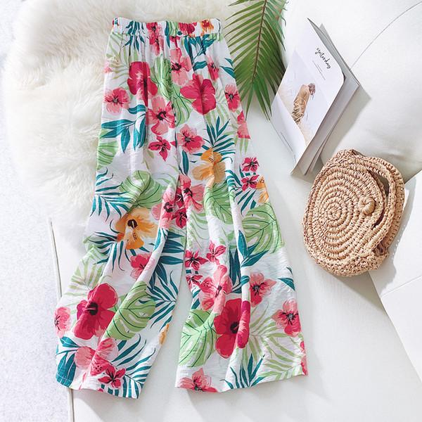 Calças de Verão das mulheres Capris Calças Tropicais Flor Impresso Perna Larga Calças Soltas Calças Casuais de Viagem De Linho Confortável