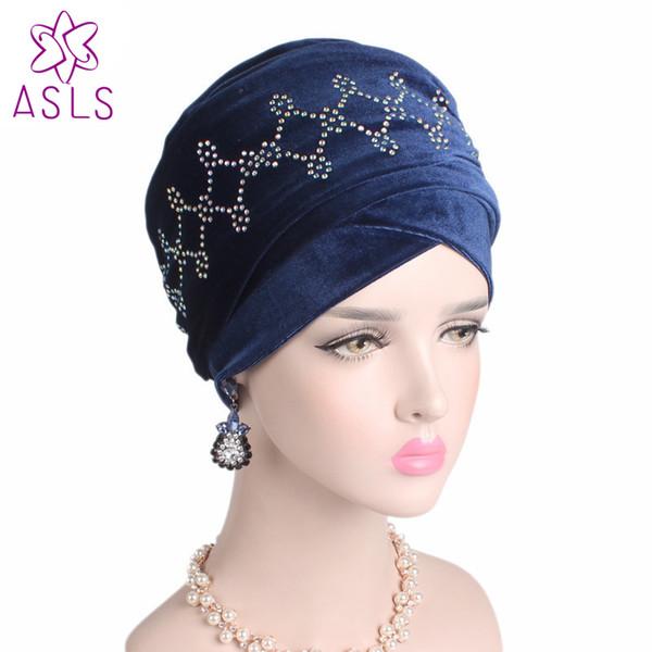New elegant Velvet Nigerian Turban Diamante Studded Extra Long Head wrap Headscarf Women Hijab Turbante