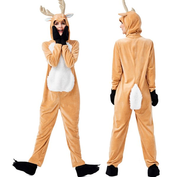 Unisex ciervos de la Navidad Pijamas animales Onesies Pijamas de niños de los niños adultos de terciopelo con capucha ropa de noche de invierno de la franela pijamas Set