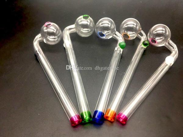 Hochwertige gebogene Glasölbrennerpfeife Glas Bong Wasserpfeifen mit Glasbalancer Pfeife 14cm Länge 30mm Kugel